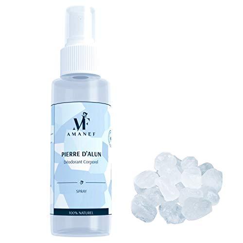 Déodorant Pierre d'Alun 100% Naturel – 1 Spray de 100ML, Sans Chlorhydrate d'Aluminium ni Paraben, Neutralise la Transpiration Sans Boucher les Pores