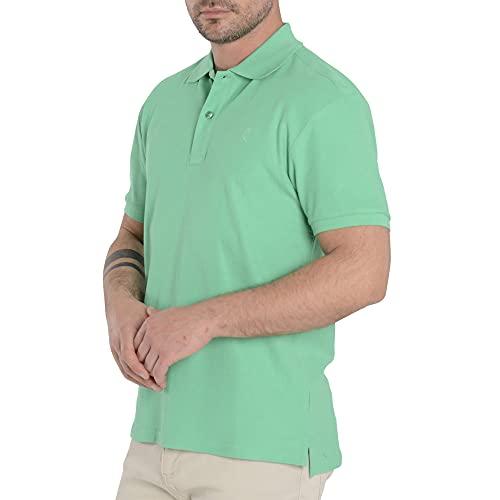 El Búho Nocturno - Polo Classique pour Homme | Polo Sport Golf, Tennis, Paddle - Lisse, sans Poche - Taille L - Vert
