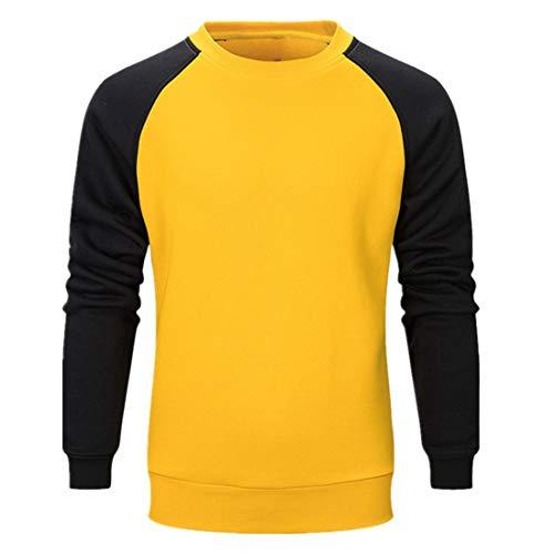 PANBOB Men Sportswear Set Long Sleeve Fitness Running Training Round Neck Sweatshirt Drawstring Sweatpants Comfortable Breathable 2Pcs Sportswear Set J-Yellow L