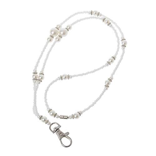 holilest Cordón, Collar de cordón de Titular de la Insignia de identificación de Cuentas de Perlas Blancas Cierre magnético