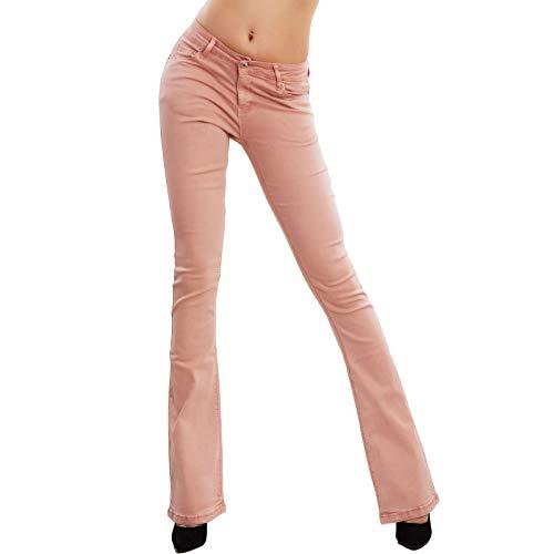Toocool - Vaqueros de mujer Push Up pantalones pata Elefante Campana Slim Sexy F36-M6129 Rosa S