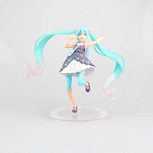 HYKCSS Beautiful Girl Series Anime Doll Hatsune Miku Spring Dress Back School Bag Versión Estatua Muñeca Escultura Juguete Decoración Modelo Figura Figura 17cm Altura
