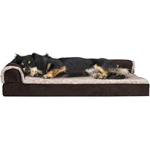 FurHaven Pet Dog Bed | Deluxe Orthopedic Faux Fur & Suede L-Shaped Chaise Couch Pet Bed for Dogs & Cats, Espresso, Medium