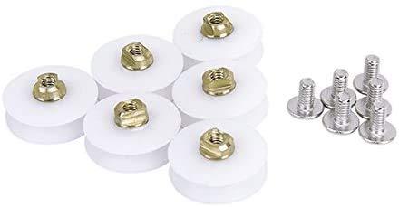 6 ruedas de repuesto para puerta de baño, ruedas de 22,5 mm de diámetro, color blanco
