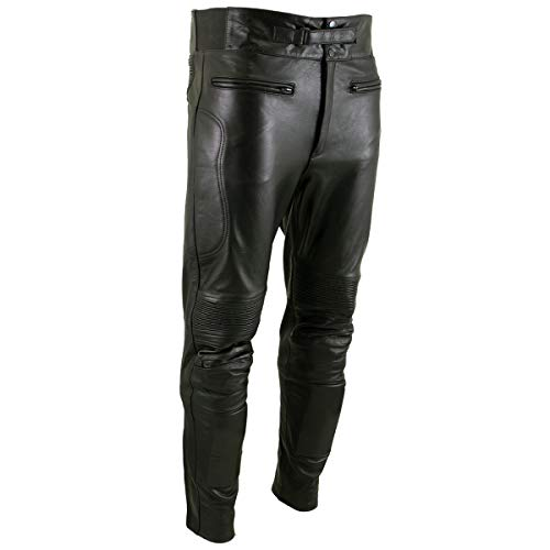 Xelement B7466 'The Racer' Men's Black Cowhide Leather Racing Pants with X-Armor Protection - 46