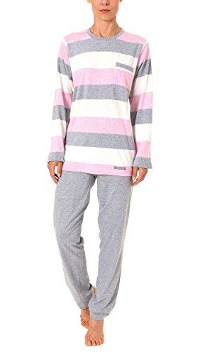 Creative by Normann Toller Damen Pyjama Langarm in wunderschöner Block Streifen Optik - 61465, Größe2:44/46, Farbe:rosa
