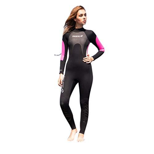 iYmitz 3MM Damen Surfanzug Tauchen Ganzkörper Schwimmen Lang Frauen Wetsuit Einteiliger Neoprenanzug (Schwarz,M)