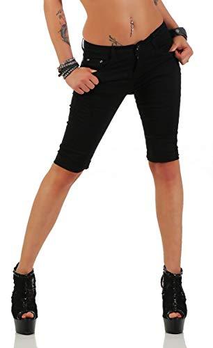 Fashion4Young 11195 Damen Caprihose Bermudas Sommerhose Freizeithose Capri Chino Hose (L=40, schwarz)