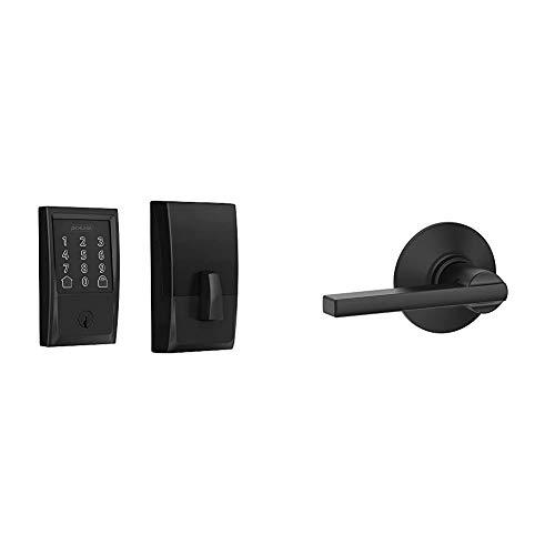 Schlage Lock Company BE489WB CEN 622 Schlage Encode Smart WiFi Deadbolt with Century Trim in Matte Black, Lock & F10 V LAT 622 Latitude Passage Lock Lever, Matte Black