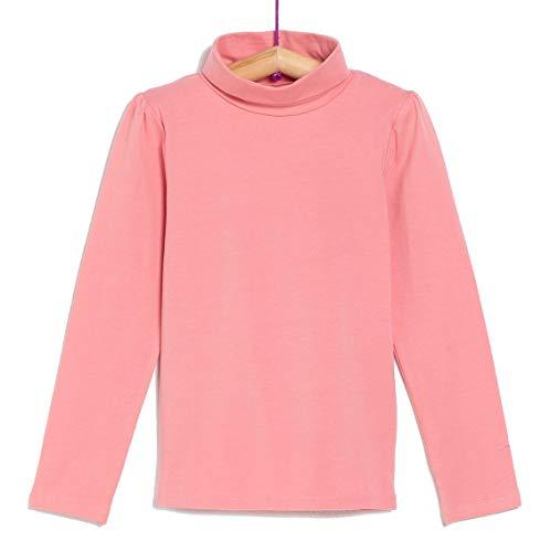 TEX - Camiseta de Algodón para Niña, Manga Larga, Cuello Alto, Rosa, 3 a 4 años