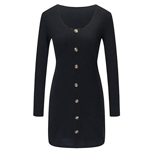 GLOGLOW Frauen V-Ausschnitt Kleid Lange Ärmel Bodycon Strickkleid mit Knöpfen Dekoration für Damen weibliche Mädchen(XL-Schwarz)