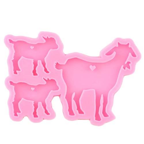 WYNYX Moldes de Silicona de la Familia de la Cabra Brillante DIY Resina de Oveja llaveros epoxi Molde para llaveros Colgantes de Moda