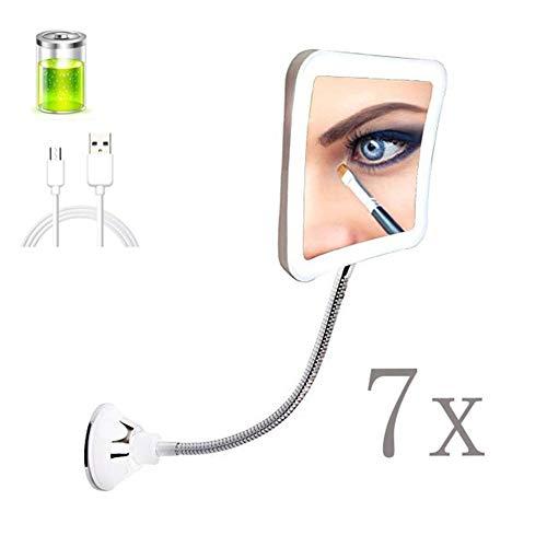 FCS Bathroom Kosmetikspiegel Wandmontage Beleuchtet ohne Bohren, Schminkspiegel Saugnapf mit Beleuchtung und vergrößerung 7X, Quadrat Duschspiegel Batterie/USB betrieben, 360° Schwenkbar