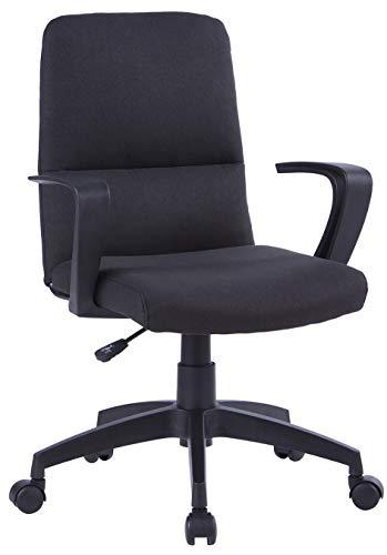 SixBros. Bürostuhl, Schreibtischstuhl, hohe Rückenlehne & Dicke Polsterung, ergonomischer Drehstuhl für's Büro oder Home-Office, stufenlos höhenverstellbar & leichtläufig, schwarz W-212A/8181