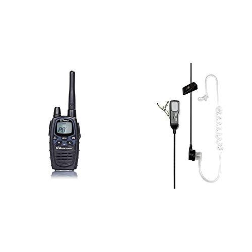 Midland G7 Pro Radio Ricetrasmittente Walkie Talkie Dual Band 16 Canali PMR446 e 69 Canali LPD & MA31-L Microfono con Mono Auricolare Pneumatico