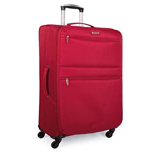 ITACA - Maleta de Viaje Cabina Blanda 4 Ruedas 55x40x20 cm Trolley Poliéster EVA. Equipaje de Mano. Ligera. Mango y Asas. Low Cost Ryanair Vueling. i52750, Color Rojo