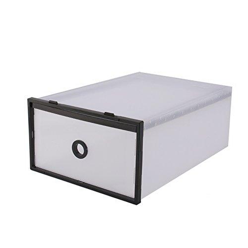 5 cajas de almacenamiento de plástico dobles organizador de caja de zapatos plegable, bolsa de almacenamiento de zapatos negra para libros de kit pequeños Ahorro de espacio considerablemente máximo