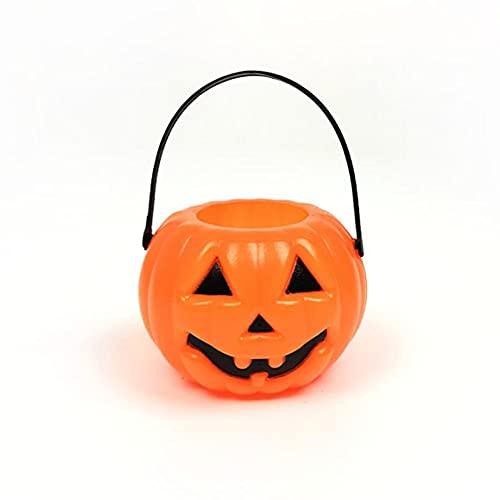 CHICMALL Decoraciones de Halloween Cubo de Calabaza Cubo de Caramelo Smiley Divertidoy Complicado Accesorios de Barra Diseño del Lugar del Evento