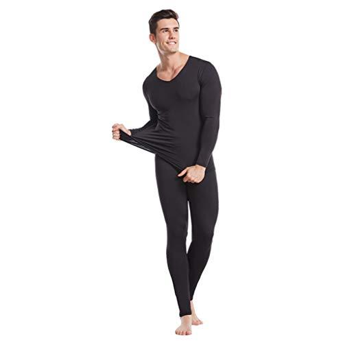 Hatop- Men's Thermal Underwear Union Suit Top and Bottom Long Johns Base Layer Thermal Underwear Set Sleepwear Pajama