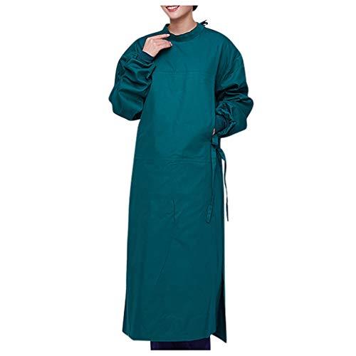 CRE87 Mann und Frauen OP-Kittel Mantel für OP-Bereich Isolationskleid mit elastischer Stehkragen Schutzisolationskleider Stillkleid Staubfreie Arbeitskleidung Schutzkleidung(A Grün L)