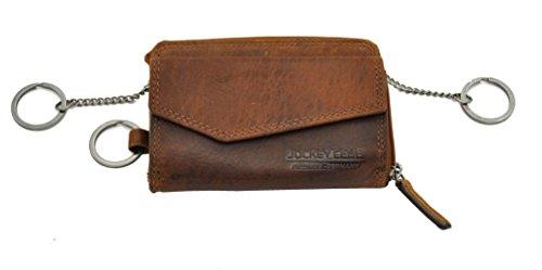 XL Schlüssel-Etui Schlüsseletui Mappe mit Münzfach Kreditkartenfächer Geldbörse Tasche Sauvage-Leder Jockey Club Cognac braun