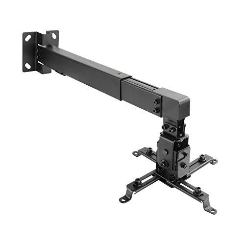 TooQ PJ4012WT-B - Soporte inclinable de pared para proyector, hasta 20 Kg, ajustable a la pared entre 430mm hasta 650mm, inclinacion +/- 15º, incluye kit de montaje, color negro