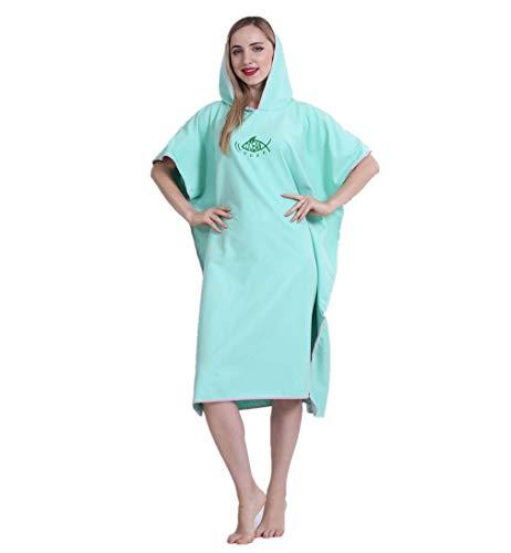 JameStyle26 Poncho de baño de microfibra, secado rápido, unisex, albornoz con capucha, toalla de ducha, natación, surfing, playa, buceo, moda de baño verde menta Tallaúnica