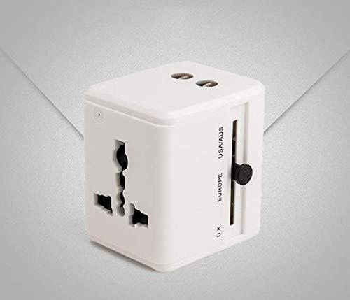 XZYP Adaptador De Viaje, Cargador De Pared De La Corriente Internacional Universal con 2 USB, Todo En Un Adaptador para Europa, Reino Unido, EE.UU, AU, Asia Y Más, 2100Ma,Blanco
