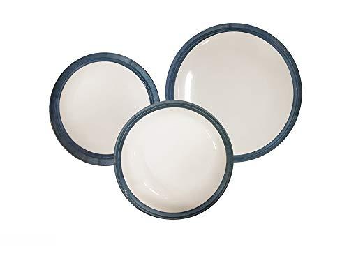 REPLOOD Servicio de platos de 18 piezas para 6 personas de porcelana modelo línea azul