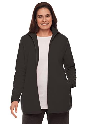 Woman Within Women's Plus Size Zip-Front Microfleece Jacket Fleece - 3X, Black