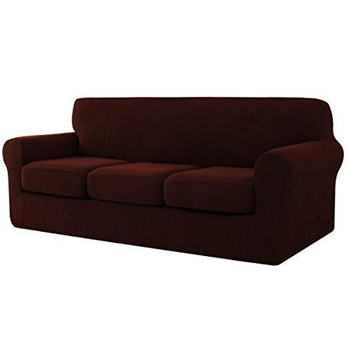 CHUN YI Jacquard - Funda de sofá extensible con funda de cojín de asiento separada, spandex extensible, protector de muebles (3 plazas, Chocolat)