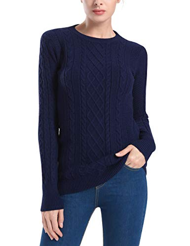 Rocorose Women's Knitted Tunic Long Sleeve Crew Neck Pullover Navy S