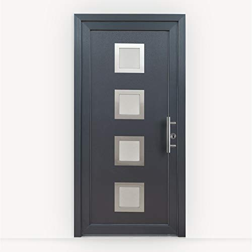 HORI® Haustür Bordeaux I Kunststoff Haustüre Eingangstüren Aussentür mit Glaseinsatz I Farbe: Anthrazit I DIN Links I Modell: Bordeaux I 2000 x 1000 mm