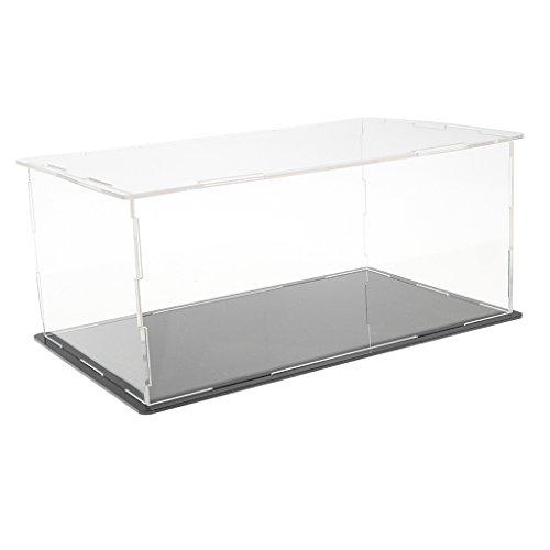 Klare Acryl Display Staubdicht Box Schaukasten Präsentationsbox Aufbewahrungsbox mit Schwarze Basis - # 1