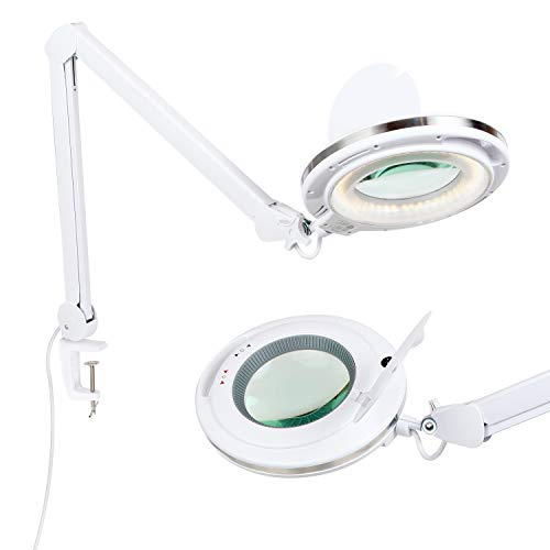 Brightech LightView PRO LED 2.25x Magnifying Glass Clamp Lamp: Daylight Bright Lighted Lens � Dimmable, Adjustable Color Temperature Utility Light for Desk, Table, Task, Craft, Workbench �White