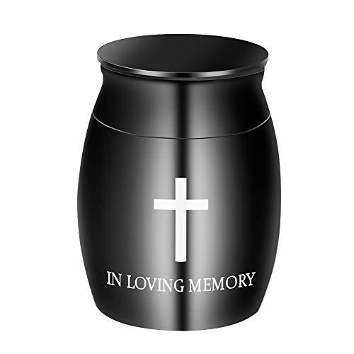 Dletay Kleine Urne für Asche, für Asche, Edelstahl Non-Engraving In Loving Memory-schwarz