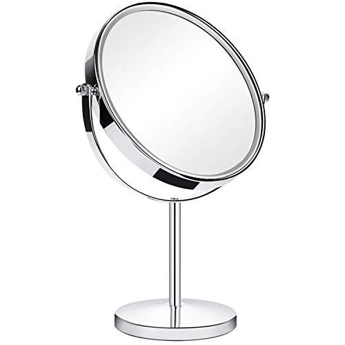 ANGNYA Specchio Trucco da Tavolo, Doppia Faccia Specchio Ingranditore 5X/1X, Specchio da Bagno Rotazione a 360︒ Stile retrò, Bordo e Piedistallo Trasparente,Argento, Supporto Cromato