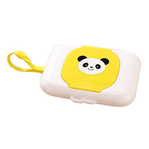 Fenteer Home Car Travel Tissue Case Child Kids Baby Wet Wipes Caja De Almacenamiento Dispenser Holder Pop Up Press Design - Amarillo