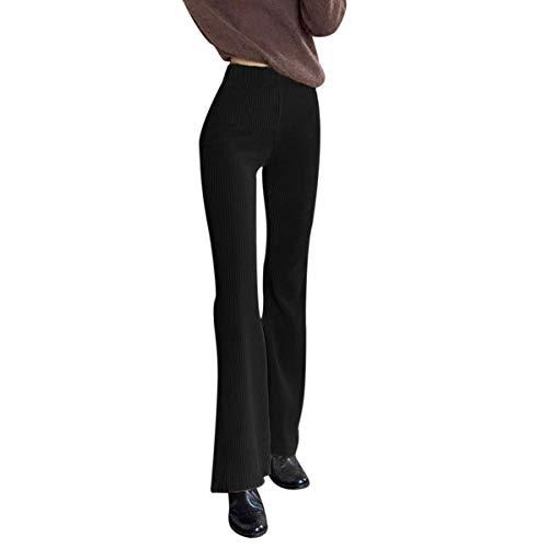 N /C Pantalones de pana de cintura alta para mujer, pantalones acampanados ajustados, rectos y trapeadores, color sólido