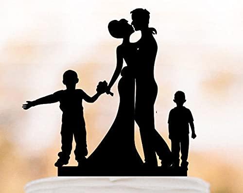 Decoración para tarta de boda familiar con dos niños silueta de novia y novio única decoración de tartas divertida con niños