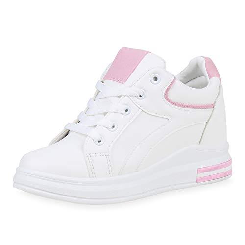SCARPE VITA Damen Sneaker Wedges Keilabsatz Schuhe Basic Keilsneaker Leder-Optik Freizeitschuhe Schnürer Turnschuhe 190773 Weiss Rosa Total 40