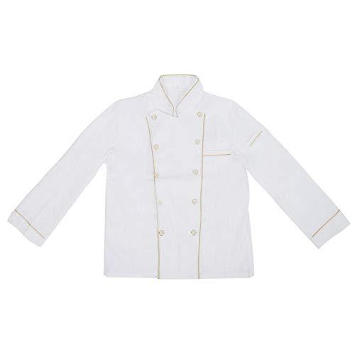 Niiyen Uniforme de Chef, Chaqueta de Chef de Manga Larga con Cuello Alto para Hombres Mujeres, Hecho de Material Premium, Suave(: M (160-170 CM))