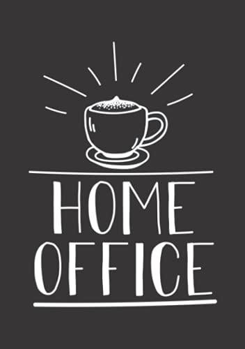 Notizbuch A5 dotted, gepunktet mit Softcover Design: Kaffee im Home Office Homeoffice Geschenk für Kaffeejunkies: 120 dotted (Punktgitter) DIN A5 Seiten