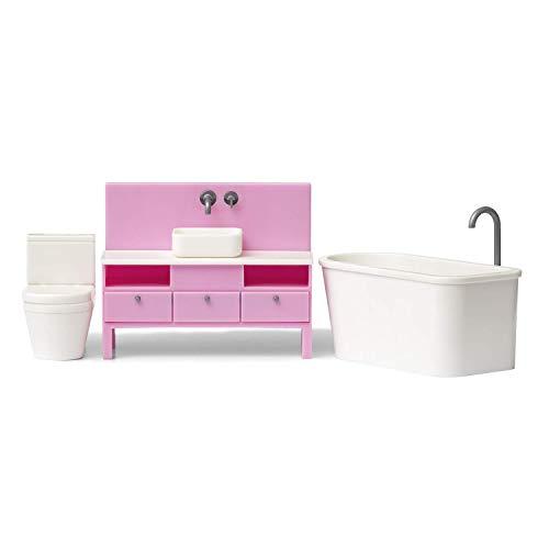 Lundby 60-305700 - Badezimmer Puppenhaus - Möbelset 3-teilig - Puppenhauszubehör - Möbel - Badewanne - Toilette - WC - Badmöbel - Zubehör - ab 4 Jahre - 11 cm Puppen - Minipuppen 1:18