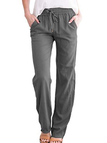 ORANDESIGNE Femme Pantalon en Lin Taille élastique Sport Lâche Confortable Léger Couleur Solide