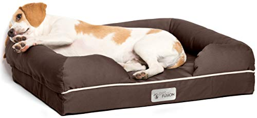 PetFusion Small Pet Bed w/ Solid 2.5' Memory Foam, Waterproof liner, YKK premium zippers. [Chocolate Brown, 25x20x5.5'; dog beds furniture also for cats]
