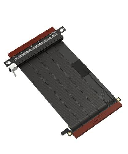 LINKUP - Ultra PCIe 4.0 X16 Cavo Riser [RTX3090 RX6900XT x570 B550 Z590 Testato] Supporto Verticale Schermato Gaming PCl Express Gen4┃Connettore Doppia Inversa {14cm} Compatibile con Case SSUPD