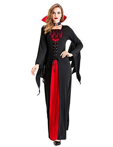 chuangminghangqi. Costume da Pipistrello Vampiro per Donna Abito Nero Rosso Ali Cravatte Adatto per Costumi di Carnevale Adulti Halloween (XL, Nero)