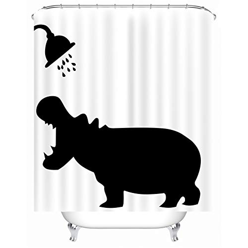 X-Labor Lustig Tier Schatten Duschvorhang 240x200cm Wasserdicht Anti-Schimmel Polyester Textil Stoff Badewannevorhang Shower Curtain Nilpferd 180x200cm