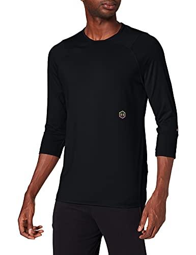 Under Armour UA Rush 3/4 Sleeve Camiseta de Manga Larga, Hombre, Negro (Black/Black 001), M